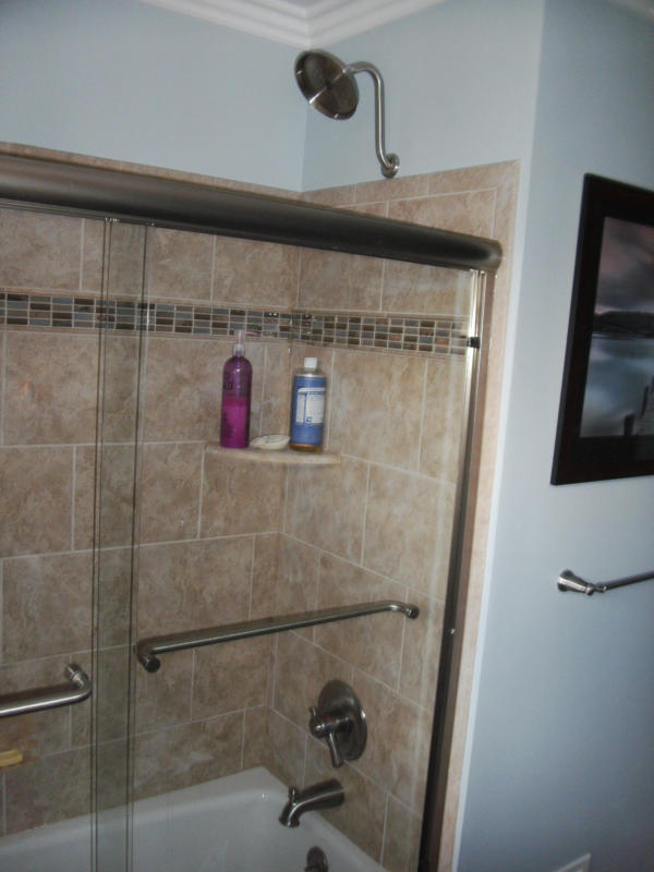 Custom Tiled Shower and Tub Surround with Glass Doors