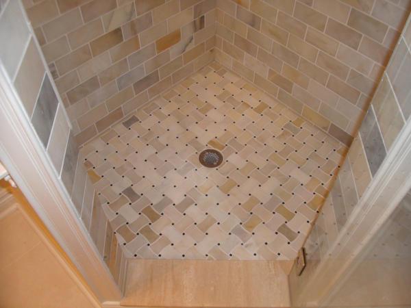 Redford Bathroom Remodel | Floor of Tiled Luxury Shower Stall