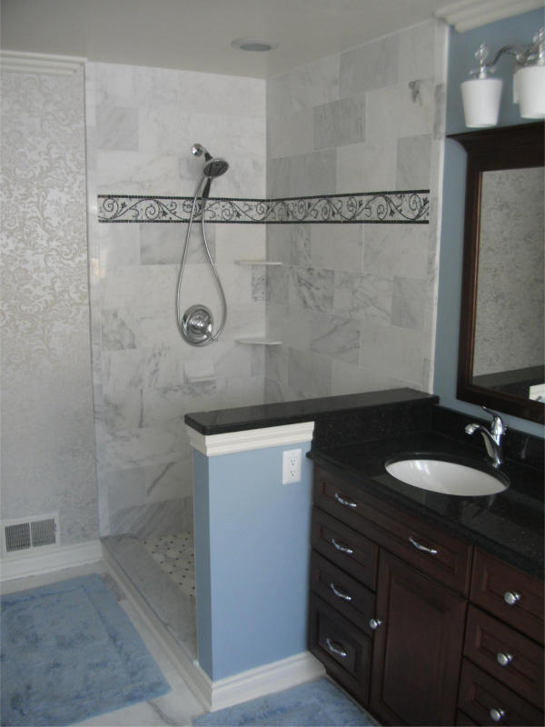 Sink Vanity Cabinet With View Of Open Concept Shower Andys - Bathroom remodel oakland
