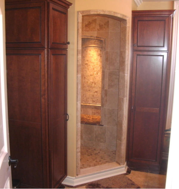 Luxury Shower with Built In Linen Cabinets   Auburn Hills Oakland Rochester Hills MI   Bathroom Remodel