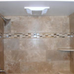 Luxury Shower with Custom Tiled Surround, Fan/light combo | Built-in Shelf